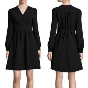 KATE SPADE BLACK LONG SLEEVE TIE WAIST DRESS MED
